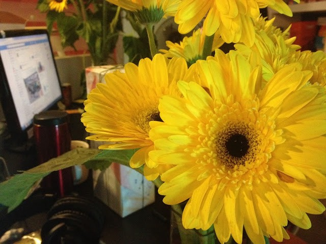 Got flowers from the sweet colleagues