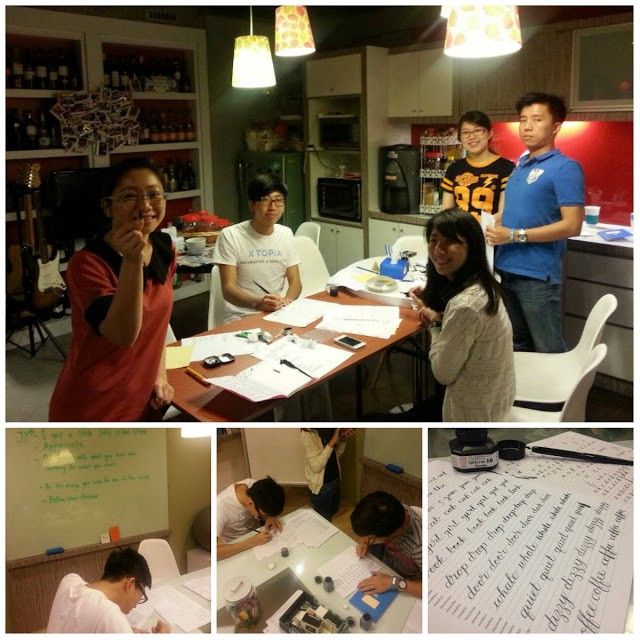 Picking up calligraphy lettering skill from the seniors on Thursdays